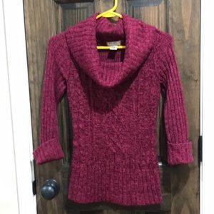 Pink cowl neck 3/4 sleeve sweater
